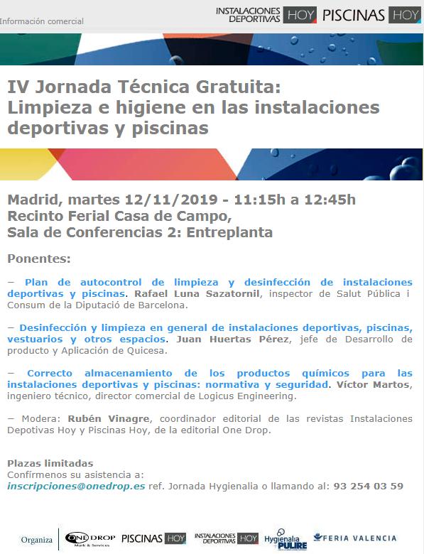 JORNADA GRATUITA LIMPIEZA E HIGIENE EN INSTALACIONES DEPORTIVAS Y PISCINAS