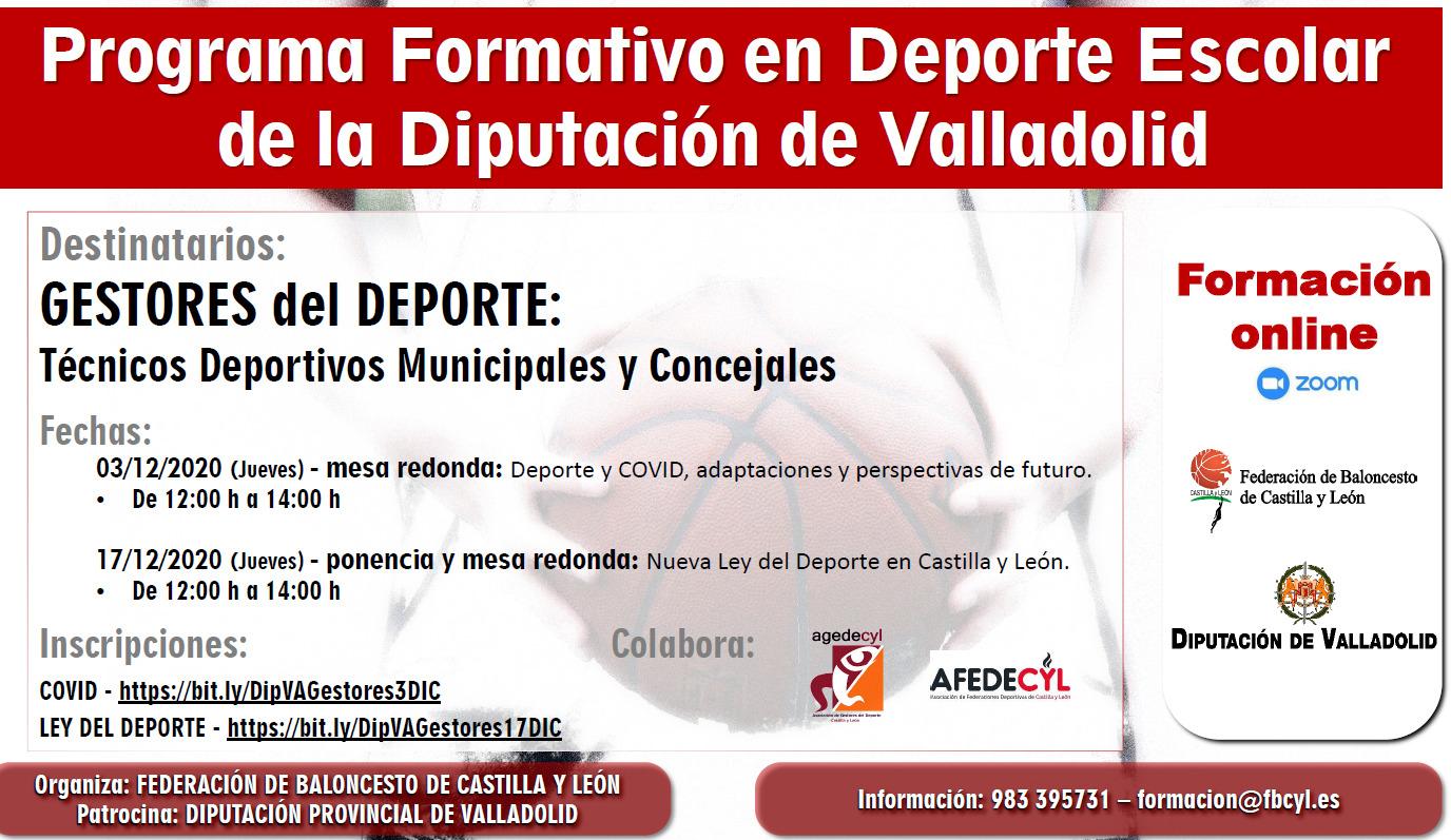 JORNADAS FORMATIVAS PARA GESTORES DEPORTIVOS DE LA DIPUTACIÓN DE VALLADOLID EN COLABORACIÓN CON AGEDECYL